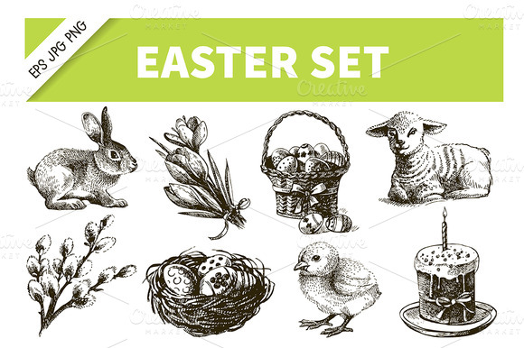 Easter Hand Drawn Vintage Set