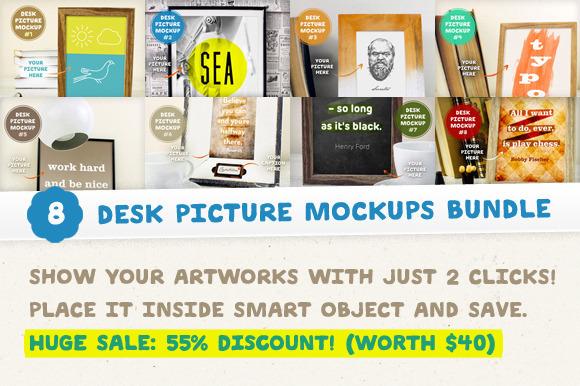 8 Desk Picture Mockups Bundle