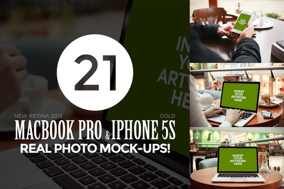21 MacBook IPhone Photo Mock-Ups