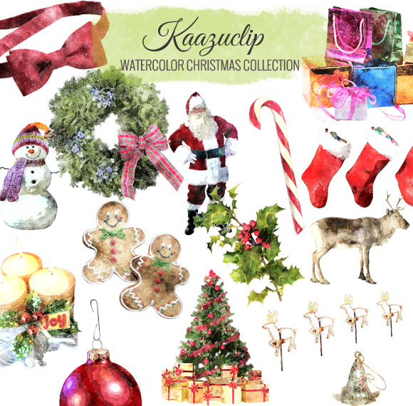 Watercolor Christmas Collection Set