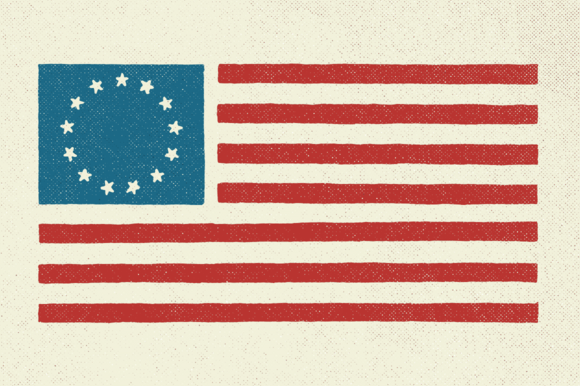 5 Hand Illustrated US Flags