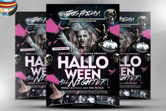 Halloween All Nighter Flyer Template
