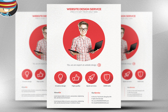 Flat Style Freelancer Flyer Template