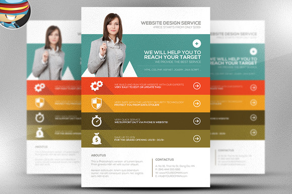 Flat Style Web Agency Flyer Template