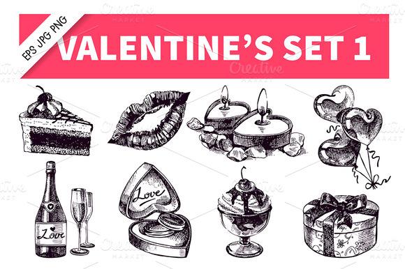 Valentine S Hand Drawn Vintage Set