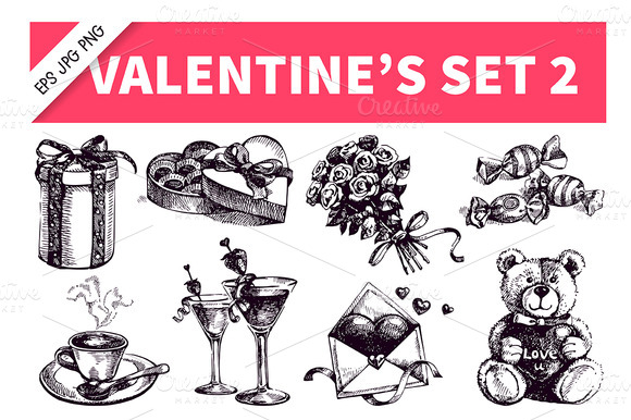 Valentine S Hand Drawn Vintage Set 2