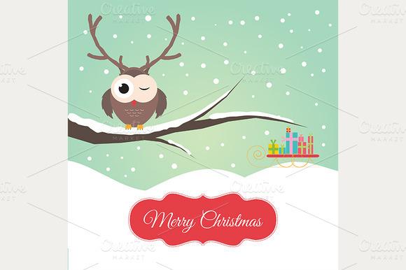 Owl Reindeer Christmas Card