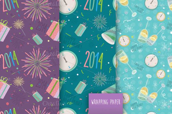 Happy New Year Vector Pattern Set
