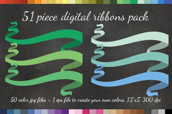 51 Curly Ribbon Clipart Vector Pack