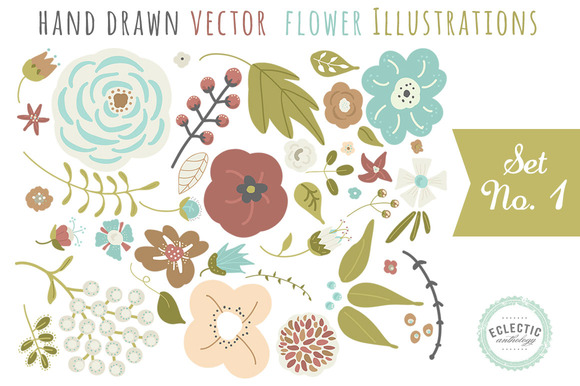 Hand Drawn Vector Flower Graphics
