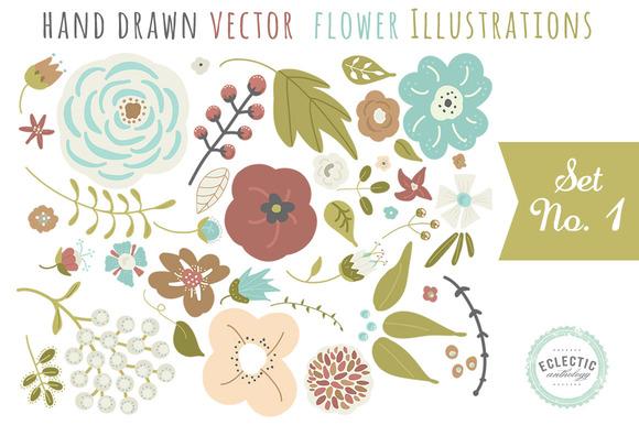 Hand Drawn Vector Flower Graphics