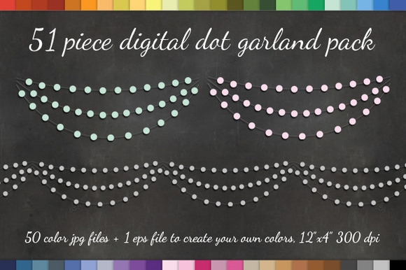 Dot Garland Clipart 50 PNGS EPS