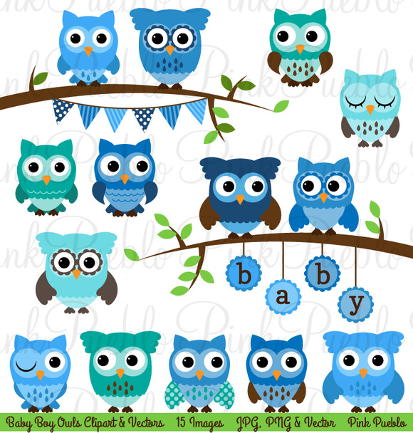 Boy Baby Shower Owl Clipart Vector