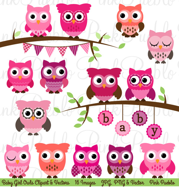 Girl Baby Shower Owl Clipart Vector