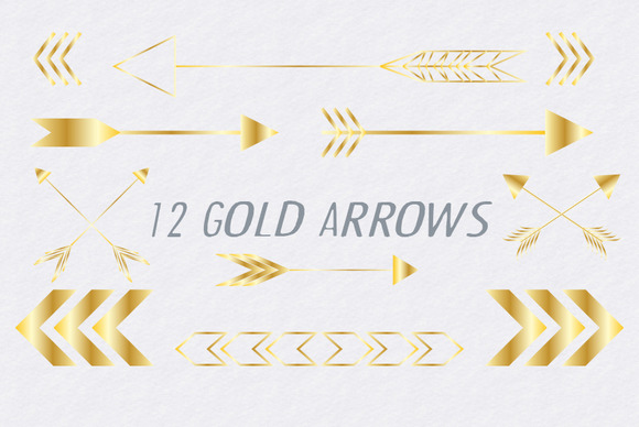 Gold Arrows Vector And PNG Graphics