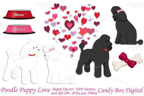 Poodle Puppy Love W Vectors