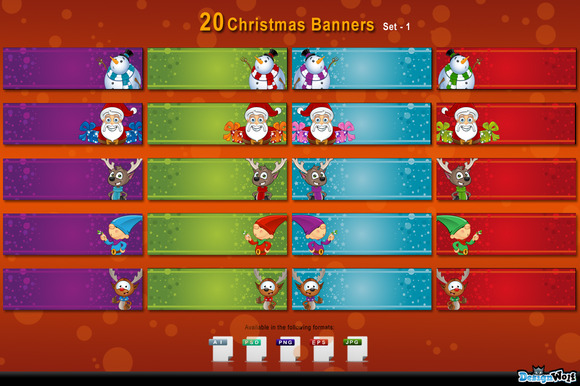 20 Christmas Banners Set 1