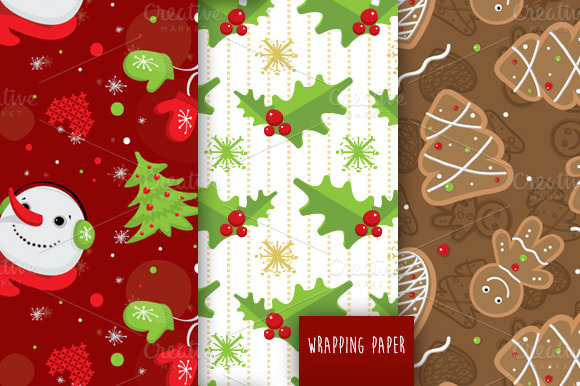 Merry Christmas Vector Pattern Set