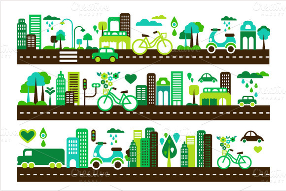 Green City Buildings And Cars Icons