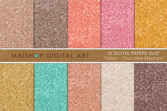 Digital Paper-Glitter-Chocolate..