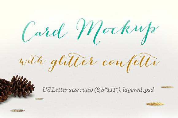 Card Mockup With Glitter Confetti