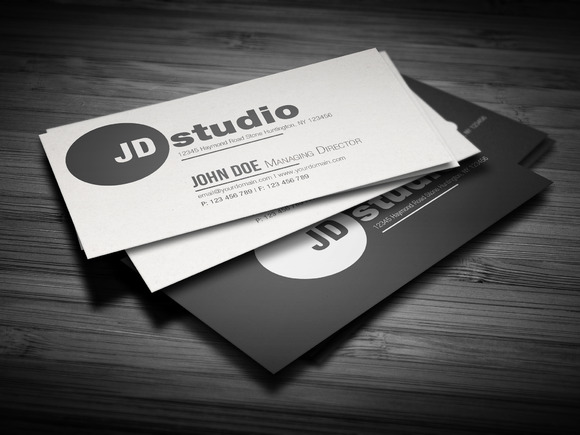 Clean Black White Business Card