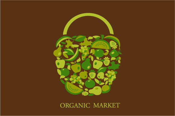 Organic Basket Vector Illustration