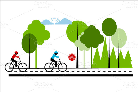 Hiking And Cycling Illustrations