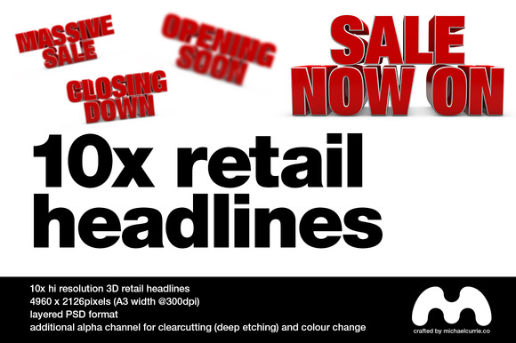 10x 3D Retail Headlines