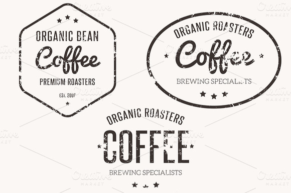 5 Grungy Coffee Brewer Badges