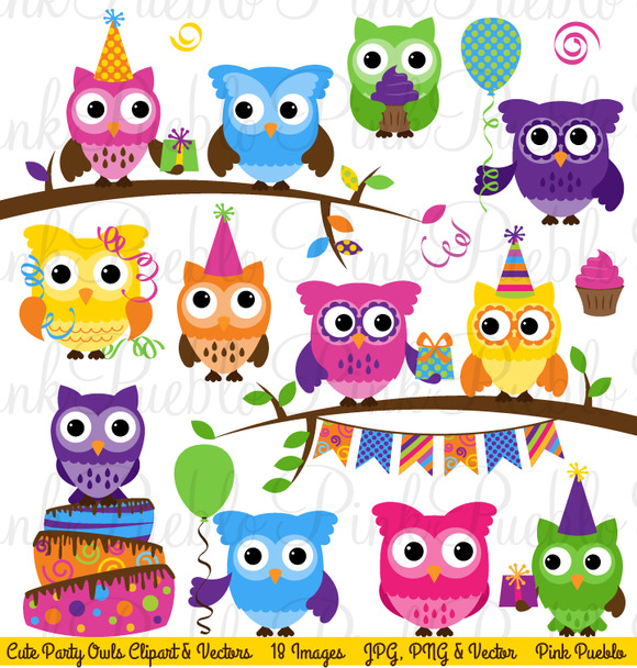 Birthday Party Owl Clipart Vectors