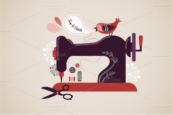 Vintage Sewing Machine Illustration