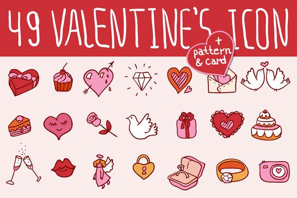 49 Valentine S Doodles Icon Set