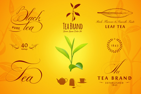 Tea Labels Logos And Elements