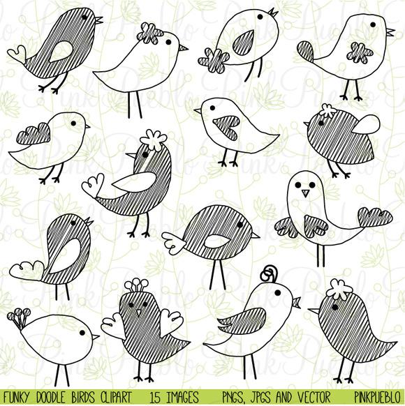 Cute Doodle Birds Clipart Vectors