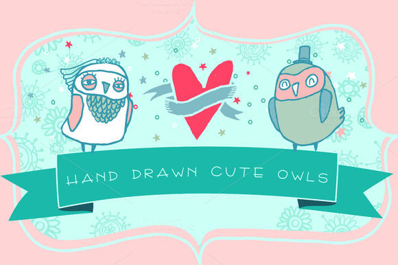 Romantic Cards With Cute Owls