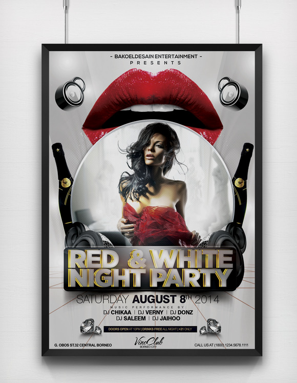 Red And White Night Party Flyer