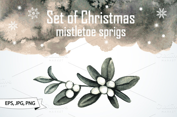 Set Of Christmas Mistletoe Sprigs