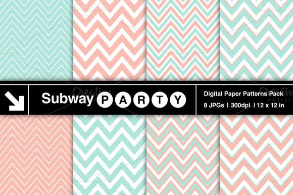 Pastel Mint Coral Chevron Patterns