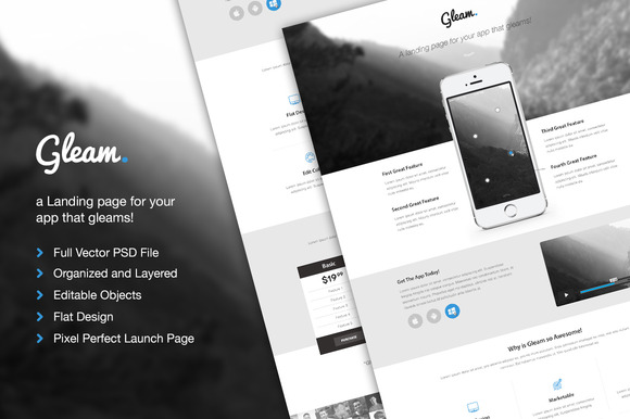 Gleam App Launch PSD Theme