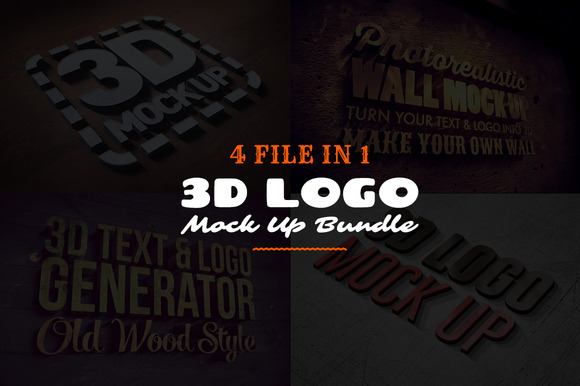 3D Logo Text Mock Ups Bundle