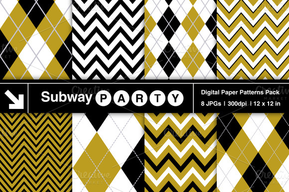Gold Black White Chevron Argyle