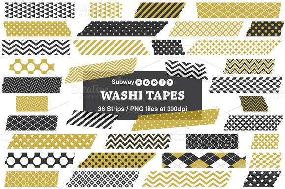 Gold Black Washi Tape Strips
