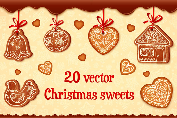 20 Vector Christmas Gingrebreads