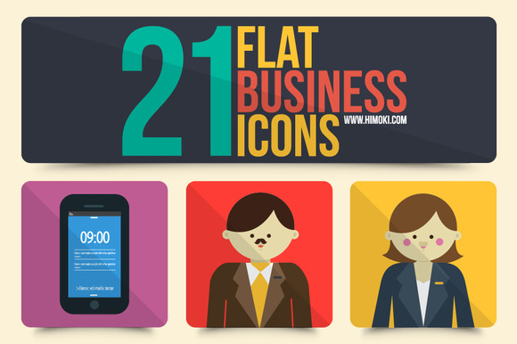 21 Flat Business Icons