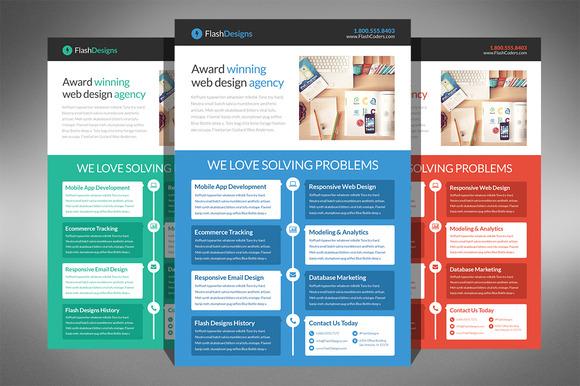 Flat Design Web Design Agency Flyer