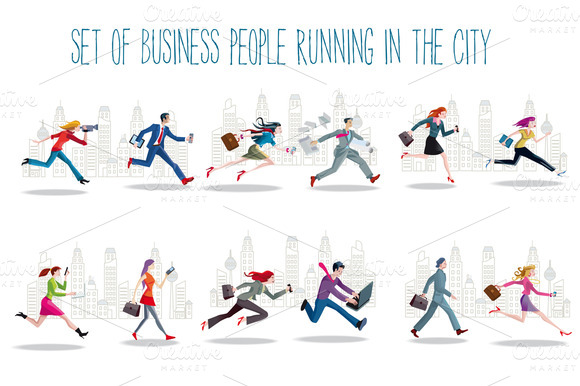 Business People Running In The City