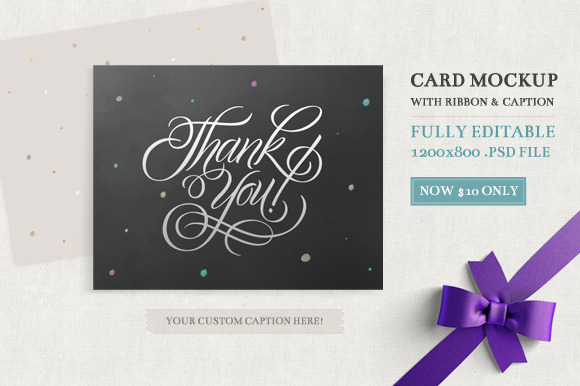 Card Mockup With Ribbon Caption