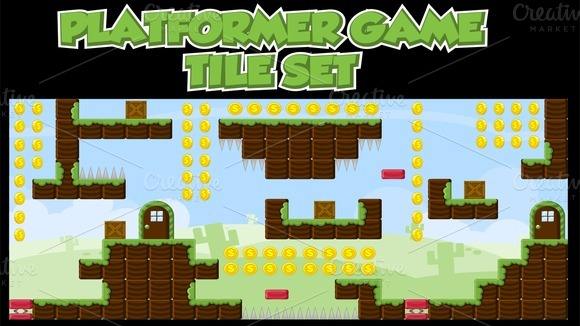 Platformer Game Tile Set 1