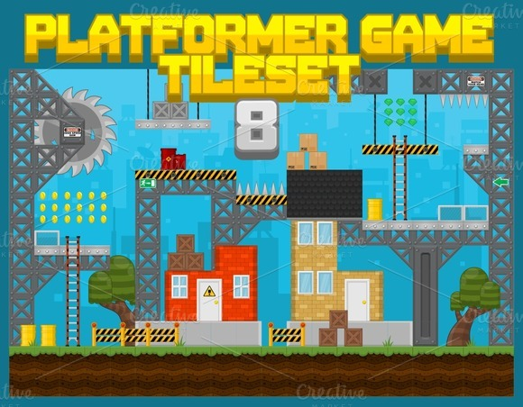 Platformer Game Tile Set 8